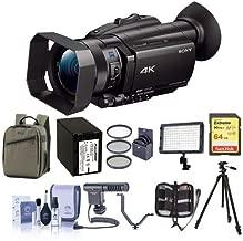 Sony FDR-AX700 4K Handycam Camcorder with Sensor - Bundle with 64GB SDHC U3 Card, Backpack, Spare Battery, Tripod, Video Light, Shotgun Mic, V-Bracket, 62mm Filter Kit, Cleaning Kit, Memory Wallet