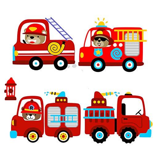EmmiJules Wandtattoo Feuerwehr (30cm x 21cm) - in verschiedenen Größen erhältlich - Made in Germany - Feuerwehrmann Junge Kinder Deko Babyzimmer Aufkleber Sticker