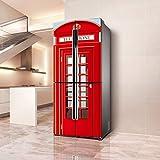 DEENLI Pegatinas Neveras, Cabina Telefónica Roja,Etiqueta De Renovación De Refrigerador Viejo