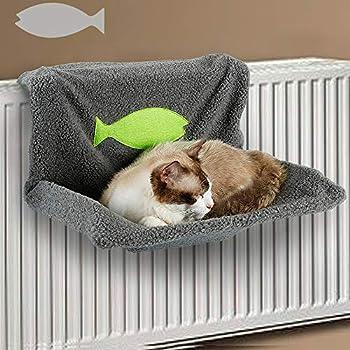 Weehey Lit de radiateur pour Chat Perche de Balustrade pour Chat Hamac Chaud lit en Polaire pour Chat Chiot Chaton Animal de Compagnie