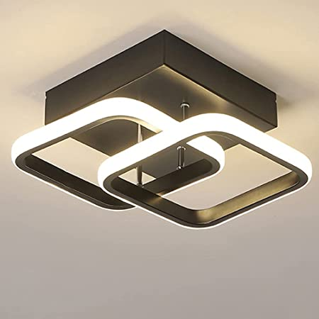 Plafonnier LED Conception Rectangulaire Simple Noir Blanc Plafonnier D'allée pour Cuisine Couloir Salon Chambres à Coucher Lumière Chaude 22W (Black)