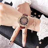 Reloj de Cuarzo con Correa de Cuero con Esfera de patrón Lotus Informal Reloj (Color : Coffee)