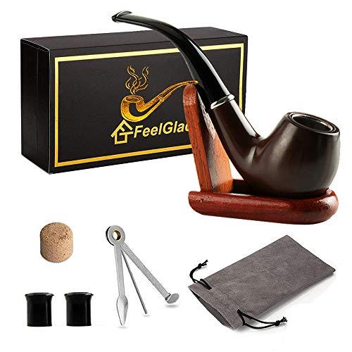 FeelGlad 5 in 1 Tabak Pfeifen Set mit Holz Pfeifen Ständer für Einsteiger und Fortgeschrittene