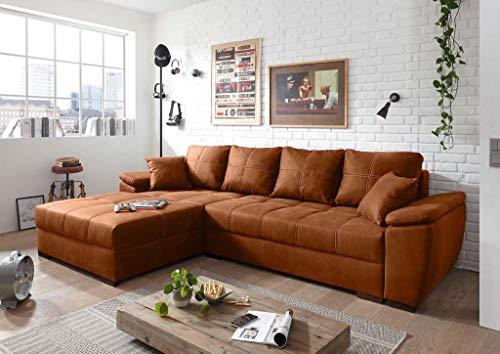 Froschkönig24 Rouven Ecksofa 285x190 cm Couch Eckcouch Sofa Cognac, Ausführung:Links