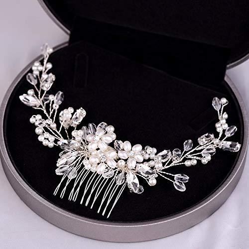 Perlas hechas a mano Accesorios para el cabello de boda Color plateado...