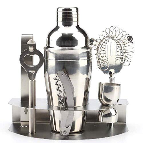 Cocktail Making Kit Shaker Set 7 Pezzi Barista Bar Strumento in Acciaio Inossidabile con Accessori Miscelatore Martini Filtro per Ghiaccio Misurino Apribottiglie Supporto per la casa Fai da Te