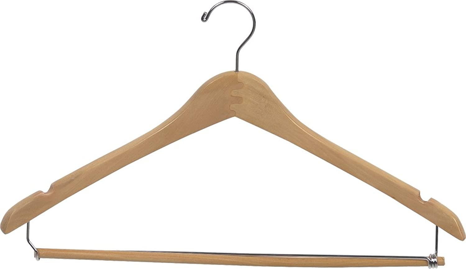 The Great American Hanger Company Curved Wood Suit Hanger w Locking Bar, Box of 25 17 Inch Hangers w Natural Finish & Chrome Swivel Hook & Notches for Shirt Dress or Pants