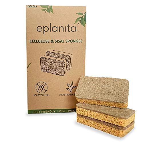 eplanita Natur Zelluloseschwamm und Sisalschwamm (3er-Pack) Reinigungsschwamm, Küchenschwamm, Spülschwamm, Geschirrschwamm   biologisch abbaubar, umweltfreundlich, wiederverwendbar, nachhaltig