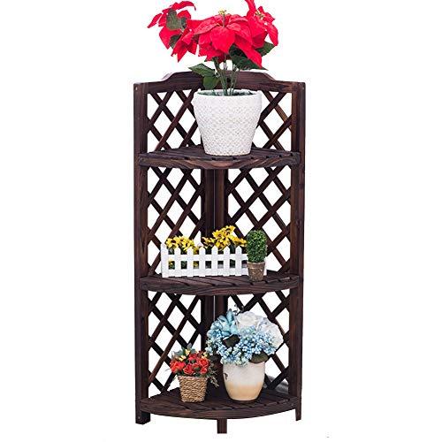 Stand de fleurs Xin Jardin Bois Massif Coin Multicouche Sol en Gradins Balcon Pot De Fleurs (Taille : 35 * 49 * 102cm)