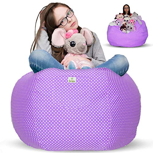 Kroco Stuffed Animal Storage Bean Bag Chair for Kids Room | Stuff n sit Children Bags | Beanbag for Girls & Boys | Toys Organizer Seat Holder | Toddlers Big,Comfy,Cute Beanbags for Child Bedroom Extra Large - 38'' Purple, Cotton
