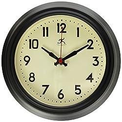 Infinity Instruments 8 Retro Diner Black Silent Wall Clock