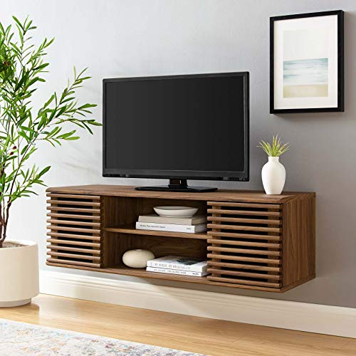 Modway Render Mid-Century Modern Wall Mount 46 Inch Media Console TV Stand in Walnut