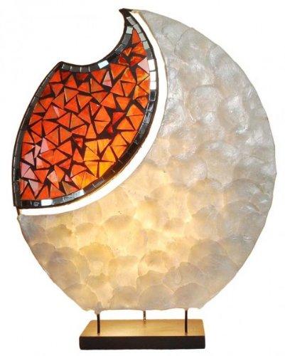 Deko-Leuchte YOKO, ovale Form, Tisch-Lampe Natur-Material, Höhe ca. 40 cm, Stimmungsleuchte