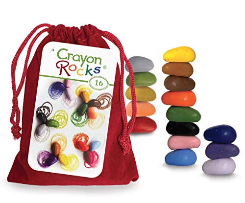 Crayon Rocks, Crayons in a Rock Shape, 16 Count, Tripod Grip Made For Handwriting Development in Kids and Toddlers, Fun & Educational, Creative Activity, Comes in a Red Velvet Bag - 16 Colors