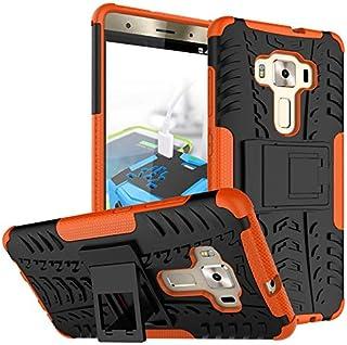 غطاء خلفي صلب مقاوم للصدمات ومدرع قوي لهاتف Asus Zenfone 3 Deluxe ZS570KL 5.7 بوصات - برتقالي اللون