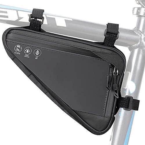 Bolsa Triangular Impermeable, Bolsa Triángulo de Ciclismo, Bolsa Manillar Triangular, Bolsa Marco Triangular Bicicleta, para Efectivo el Teléfono, Deportes al Aire Libre (Negro)