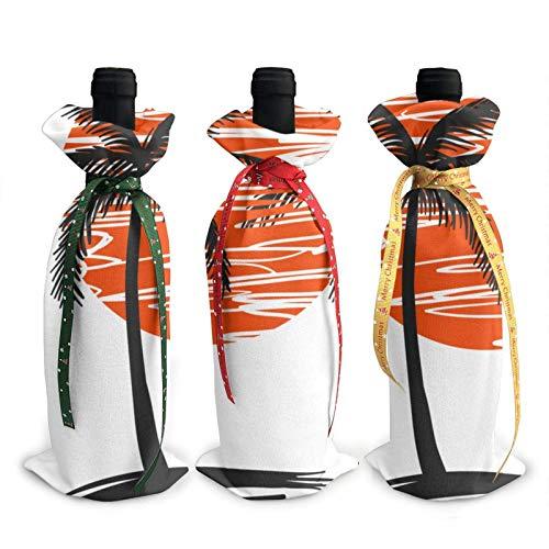 Ilustración de palmeras impresas cubiertas de la botella de vino bolsas de la cubierta de la decoración, para la fiesta de la degustación de vinos de Navidad