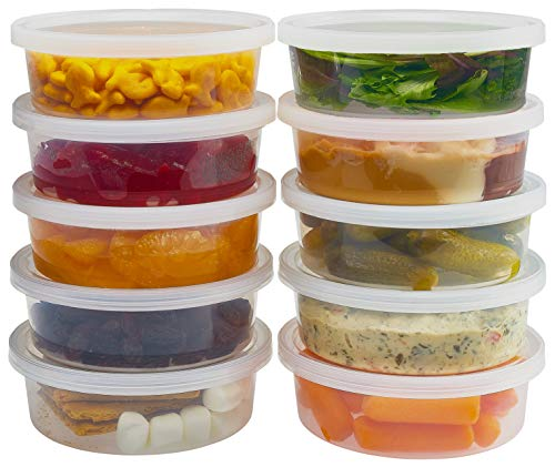 DuraHome - Deli Containers with Lids 8 oz. Leakproof - 40 Pack Plastic Microwavable Clear Food Storage Container/Slime Premium Heavy-Duty Quality, Freezer & Dishwasher Safe