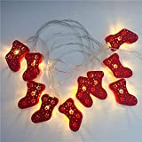 🧦 3M/9.8ft 20 LED Stringa Luci Batteria: LED Luci Rossa Calza Natalizia Luci (non incluse 3 batterie AA) Bianco Caldo. luce calda morbido bianco caldo dà una sensazione di comfort. 🎄Luci di stringa sono di micro LED a colori caldi bianchi ultra lumin...