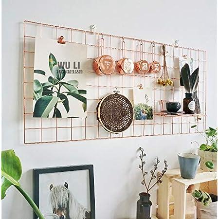 WUZILIN - Estante de Rejilla de Pared para Manualidades, de Hierro, para Colgar Fotos en el tablón de Notas, en la Familia, Cocina, Oficina, etc. (40 x 80 cm)