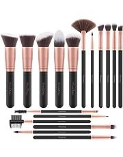 Pennelli Make Up EmaxDesign 17 pezzi Set di pennelli per trucco Fondotinta Cipria Crème Liquido Professionali Pennelli per volto ombretti e sopracciglio (Oro Rosa)
