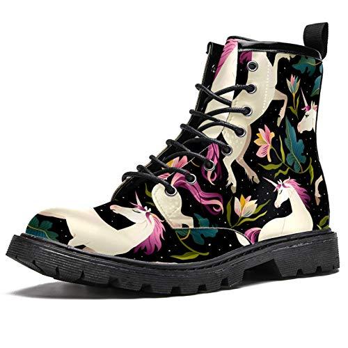LORVIES - Botas altas de unicornio con hojas verdes y flores verdes mágicas para hombre, zapatos con cordones de piel, (multicolor), 40 EU