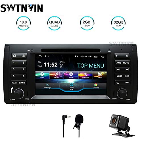 SWTNVIN Android 10.0 Autoradio-Headunit passend für BMW E39 5Serias E53 X5 7Serias M5 DVD-Player Radio 7 Zoll HD Touchscreen GPS Navigation mit Bluetooth WiFi SWC 3G DSP 2 GB + 32 GB