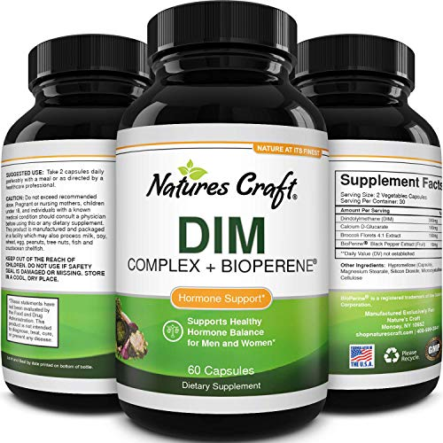 DIM Supplement with BioPerine and Broccoli Extract - Natural Diindolylmethane Womens Health Support and Skin Care for Women and Men Non-GMO DIM Complex 300 mg by Natures Craft 60 Vegetarian Capsules