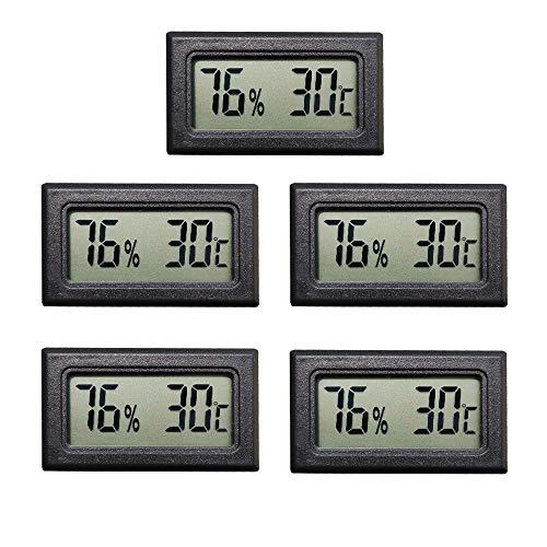 Thlevel 5PCS LCD Digitale Termometro Igrometro - Mini Temperatura Umidità Misuratore per Frigorifero, Congelatore, Serra, Auto, Casa, Ufficio
