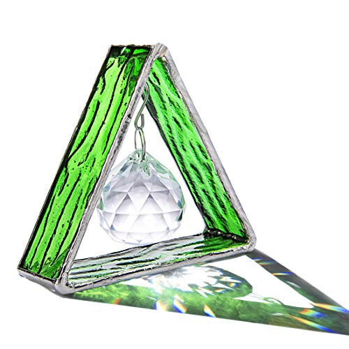 H&D HYALINE & DORA Handcrafted Pyramid in Stained Glass, Crystal Ball Prism Decor Stained Glass Window Sun Catcher Hangings Ornament, Home Table Wall Car Decor,Green