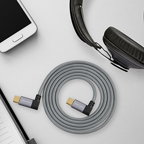 Cavo da USB-C a tipo-C, cablecreation 4ft Dual-Angle intrecciato, per il nuovo MacBook (PRO), Nintendo switch, Nexus 5 X/6P & nuovi dispositivi USB-C, 1,2 m/nero & bianco con alluminio incassato