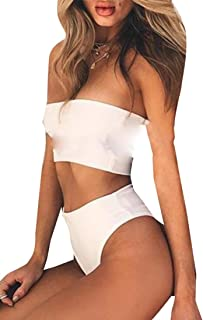 Women Strapless Ribbed Lace Up High Cut Two Piece Bandeau Bikini Set