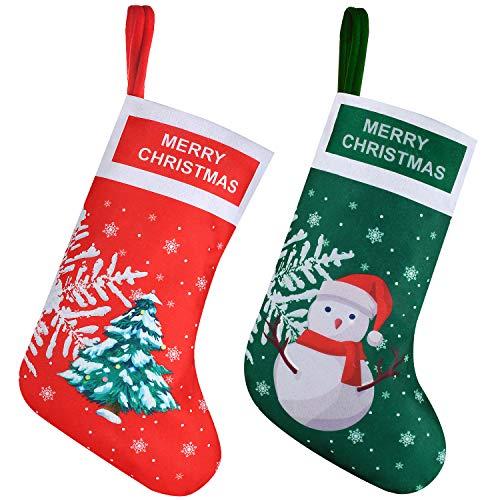 EasyAcc Calza natalizia 2 pezzi Babbo Natale Pupazzo Camino fiocco di Neve e Elk Grandi Calze Natalizie da Appendere Candy Sacchetti Regalo per Albero di Natale Festa di Christmas Decorazioni
