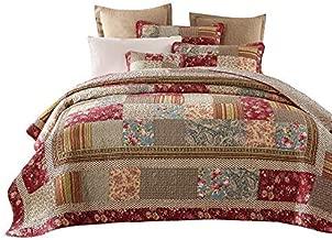 Tache 3 Piece Cotton Charming Fairytale Tea Party Country Cottage Patchwork Quilt Bedspread Set, Queen