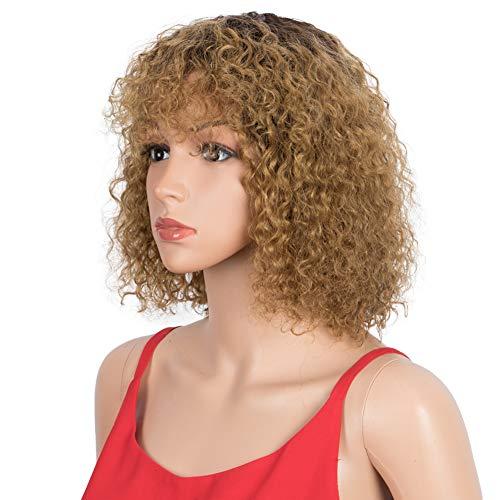 SPOTLIGHT Ombre Blonde Short Bob Wigs 10 inch Curly Wavy Human Hair Bob Wigs for Black Women Brazilian Virgin Human Hair Wigs with Bangs Natural Looking (Ombre Blonde, TT2/27)