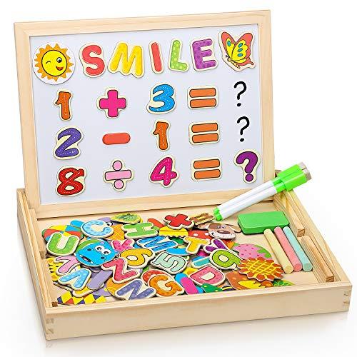 COOLJOY Puzzles Rompecabezas Magnéticos de Madera Juguete Educativo Tablero de Dibujo de Doble Cara para Mayores de 3 Años - Acerca de 100 Piezas (Número y letra)