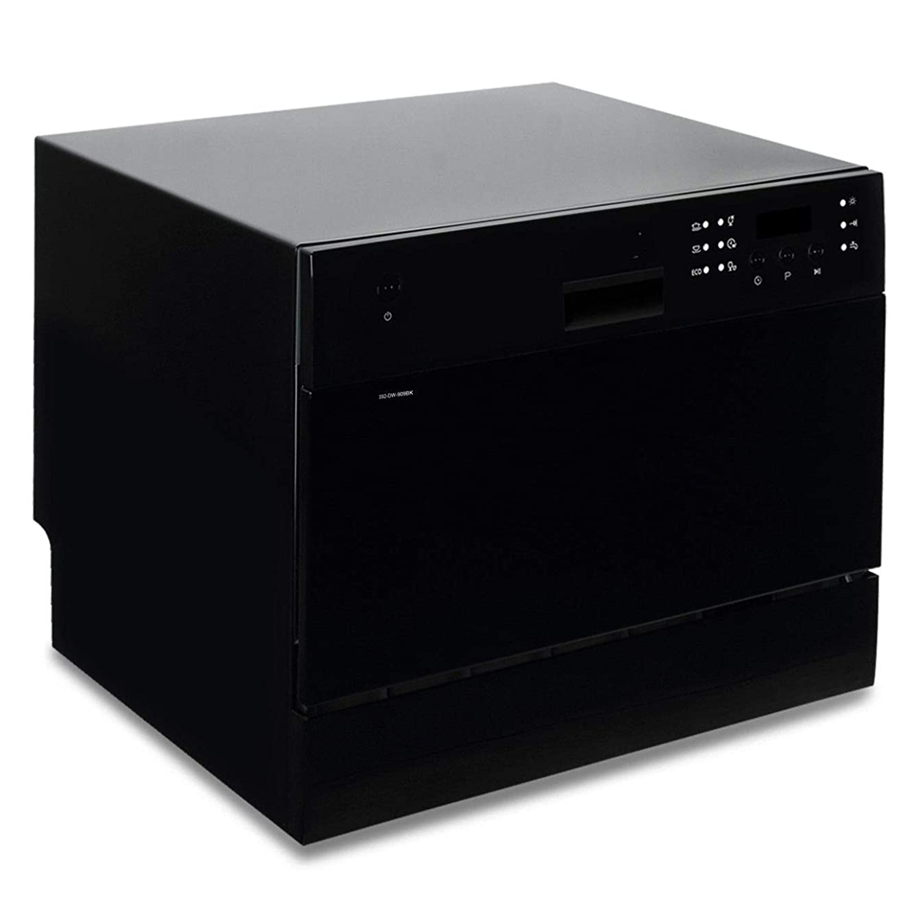 User Friendly Controls, Compact Countertop, Portable Stainless Steel Dishwasher Unit For Small Kitchen Countertop, Black
