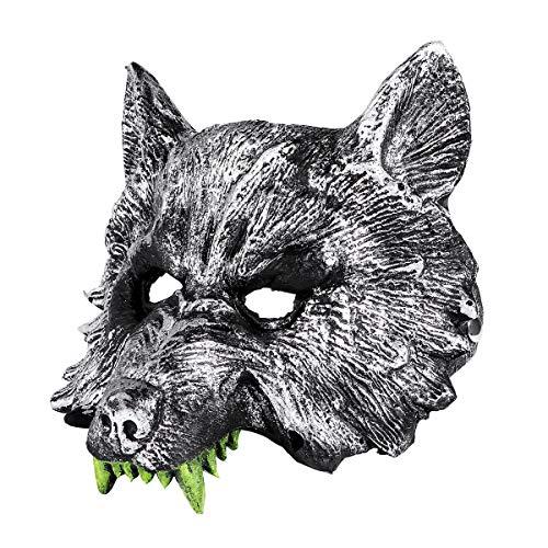 Máscara NUOLUX con diseño de cabeza de lobo, color gris
