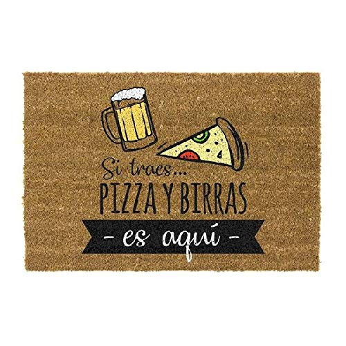 DCASA Felpudo Antideslizante Pizza Y Birras Referencia DC Textiles del hogar Unisex Adulto, Color, 40x70x1,5 cm