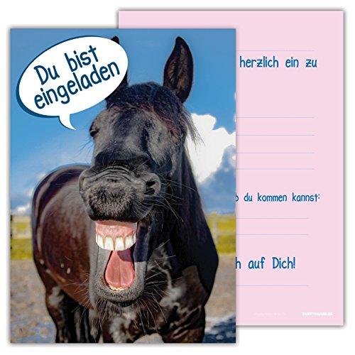 Einladungskarten für Kindergeburtstage für Jungen oder Mädchen (Pferd, 12 Stück im Kartenset)