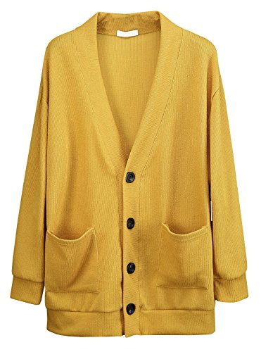 ByTheR Man's Classic Basic Loose Knit Solid Oversized Colorful Minimal Cardigan Mustard