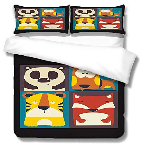 Funda Nórdica Cama 105 -Dibujos Animados Panda Perro Tigre Zorro- 200x200cm Bedding Juego de Funda de Edredón con 2 Fundas de Almohada Cierre de Cremallera Microfibra Suave Transpirable