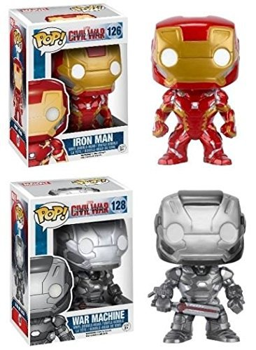 Funko POP! Captain America Civil War: Iron Man + War Machine - Vinyl Bobble-Head Toy Figure Set NEW