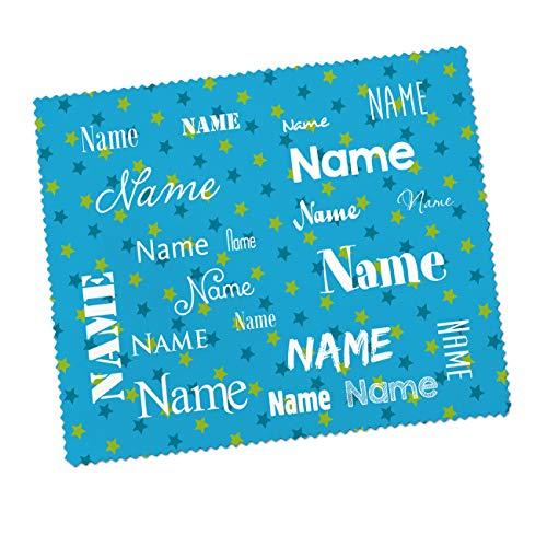 Striefchen® Brillenputztuch für Kinder mit Wunschnamen - schöne kindliche Motive Blau