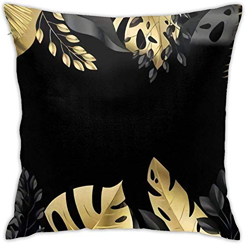 qidong Großes Banner mit Gold tropischen Blättern Vektor-Illustration Throw Pillow Covers, Sofakissen Plüsch Design Dekoration Home Bed Pilloase 18x18 Zoll