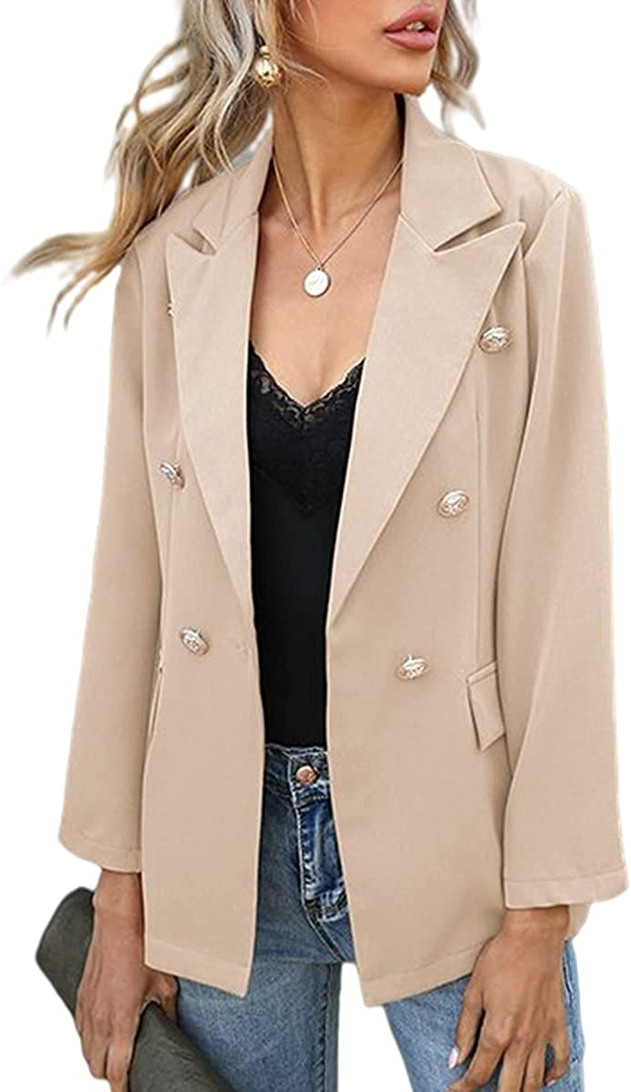 Grlasen Women Casual Open Max 76% Reservation OFF Front Double Long Breasted Sle Blazers