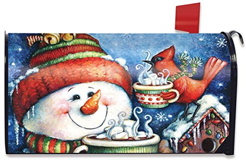 Snowman with Hot Chocolate Christmas Magnetic Mailbox Cover