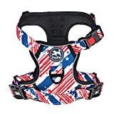 PoyPet No Pull Dog Harness, [Release on Neck] Reflective Adjustable No Choke Pet Vest with Front & Back 2 Leash Attachments, Soft Control Training Handle for Small Medium Large Dogs(USA Flag,M)