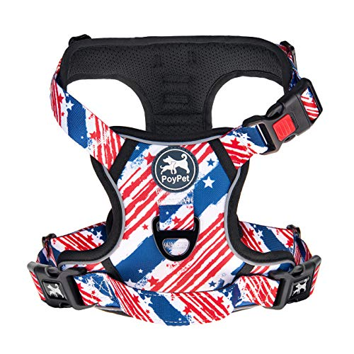 PoyPet No Pull Dog Harness, [Release on Neck] Reflective Adjustable No Choke Pet Vest with Front & Back 2 Leash Attachments, Soft Control Training Handle for Small Medium Large Dogs(USA Flag,L)