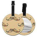 Hipster Mustache - Juego de etiquetas para maleta de piel personalizada, accesorios de viaje, etiquetas redondas para equipaje Negro Negro 4 PCS